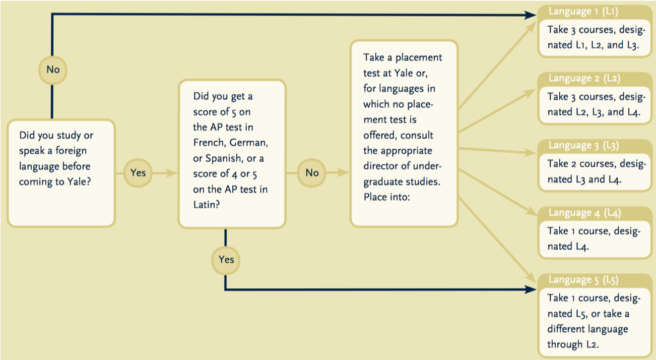 Yale foreign language requirements flowchart. Example for providing alt text to complex images.