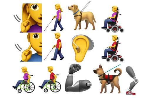 13 different emojis that represent people with disabilities, including Deaf/HoH, wheelchair users, service dogs, people who are blind, and mechanic limbs.